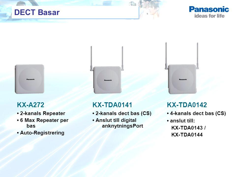 DECT Basar KX-A272 2-kanals Repeater 6 Max Repeater per bas Auto-Registrering KX-TDA0141 2-kanals dect bas (CS) Anslut till digital anknytningsPort KX