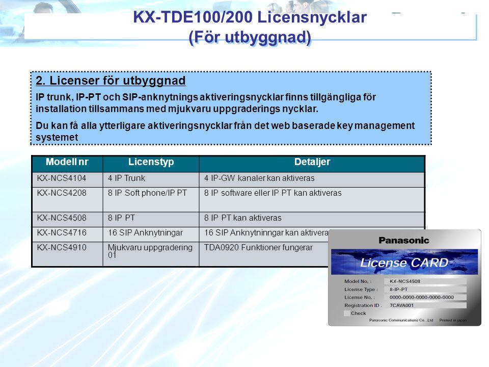 KX-TDE100/200 Licensnycklar (För utbyggnad) Modell nrLicenstypDetaljer KX-NCS41044 IP Trunk4 IP-GW kanaler kan aktiveras KX-NCS42088 IP Soft phone/IP