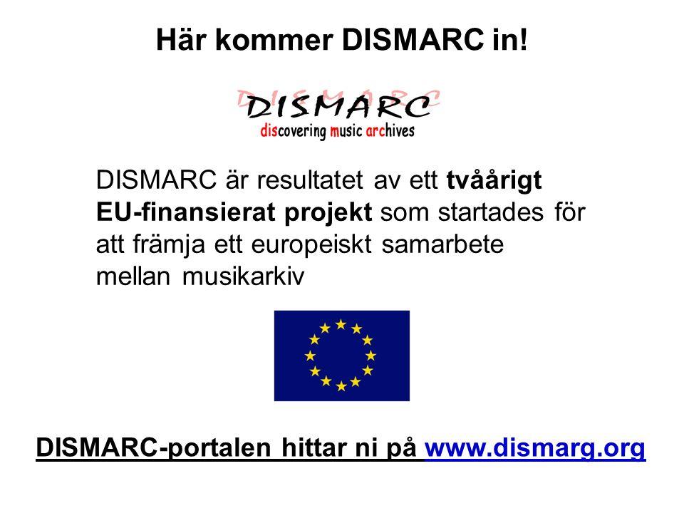 DISMARC är resultatet av ett tvåårigt EU-finansierat projekt som startades för att främja ett europeiskt samarbete mellan musikarkiv Här kommer DISMAR