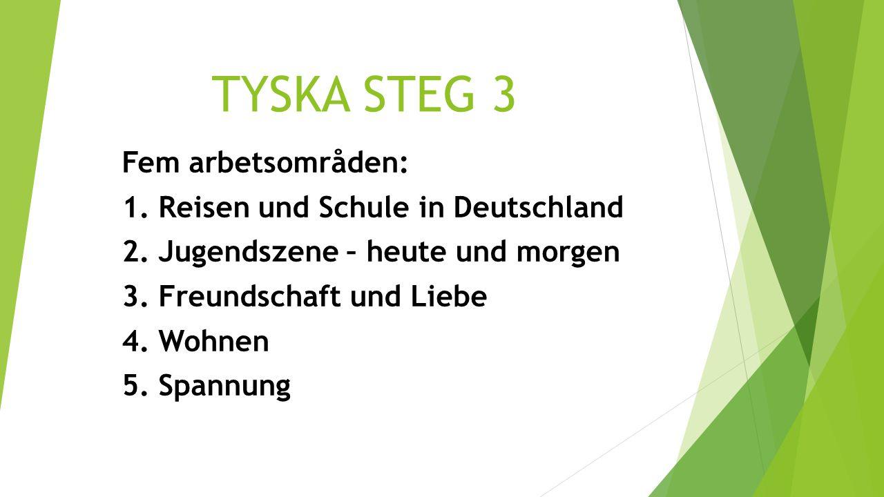 TYSKA STEG 3 Fem arbetsområden: 1. Reisen und Schule in Deutschland 2. Jugendszene – heute und morgen 3. Freundschaft und Liebe 4. Wohnen 5. Spannung