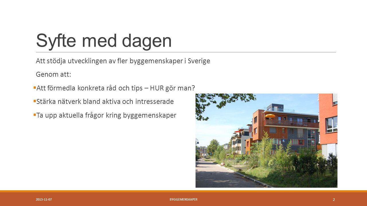 Syfte med dagen Att stödja utvecklingen av fler byggemenskaper i Sverige Genom att:  Att förmedla konkreta råd och tips – HUR gör man.
