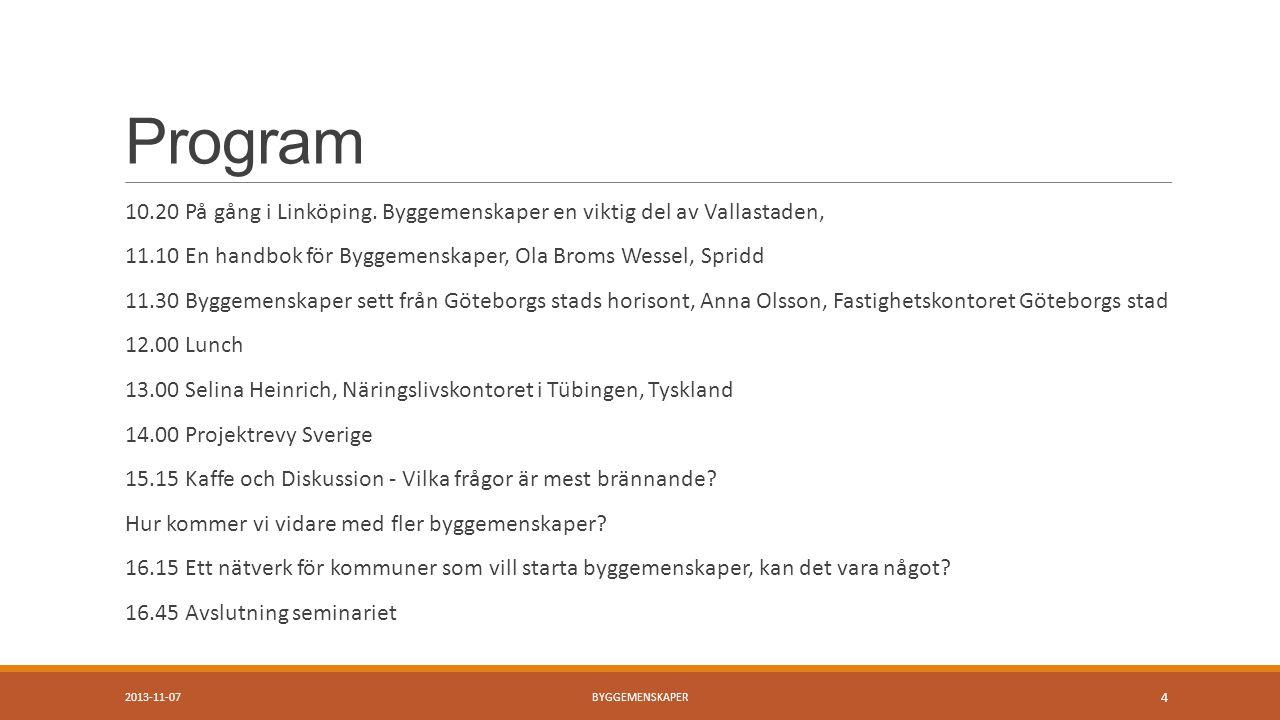 Program 10.20 På gång i Linköping.