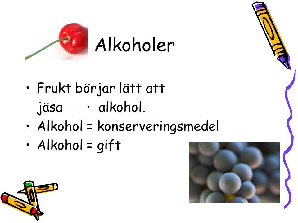 Alkoholer Frukt börjar lätt att jäsa alkohol. Alkohol = konserveringsmedel Alkohol = gift