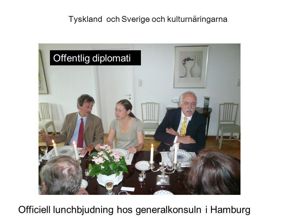 Tyskland och Sverige och kulturnäringarna Officiell lunchbjudning hos generalkonsuln i Hamburg Offentlig diplomati