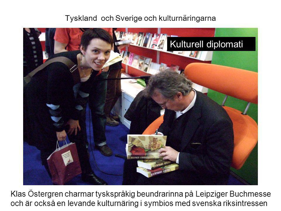 Tyskland och Sverige och kulturnäringarna Klas Östergren charmar tyskspråkig beundrarinna på Leipziger Buchmesse och är också en levande kulturnäring i symbios med svenska riksintressen Kulturell diplomati