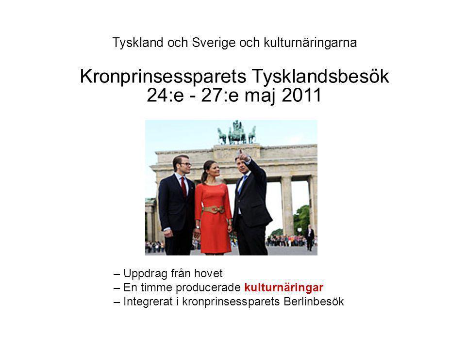 Kronprinsessparets Tysklandsbesök 24:e - 27:e maj 2011 – Uppdrag från hovet – En timme producerade kulturnäringar – Integrerat i kronprinsessparets Berlinbesök
