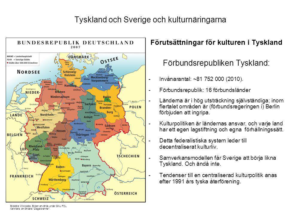Tyskland och Sverige och kulturnäringarna Förutsättningar för kulturen i Tyskland Förbundsrepubliken Tyskland: -Invånarantal: ~81 752 000 (2010).