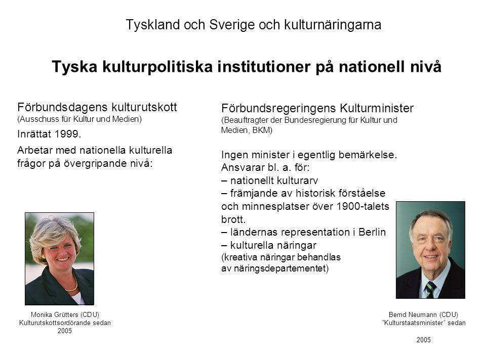 Tyskland och Sverige och kulturnäringarna Tyska kulturpolitiska institutioner på nationell nivå Bernd Neumann (CDU) Kulturstaatsminister sedan 2005 Förbundsdagens kulturutskott (Ausschuss für Kultur und Medien) Inrättat 1999.