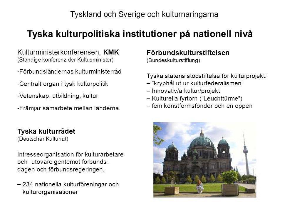 Tyska kulturrådet (Deutscher Kulturrat) Intresseorganisation för kulturarbetare och -utövare gentemot förbunds- dagen och förbundsregeringen.