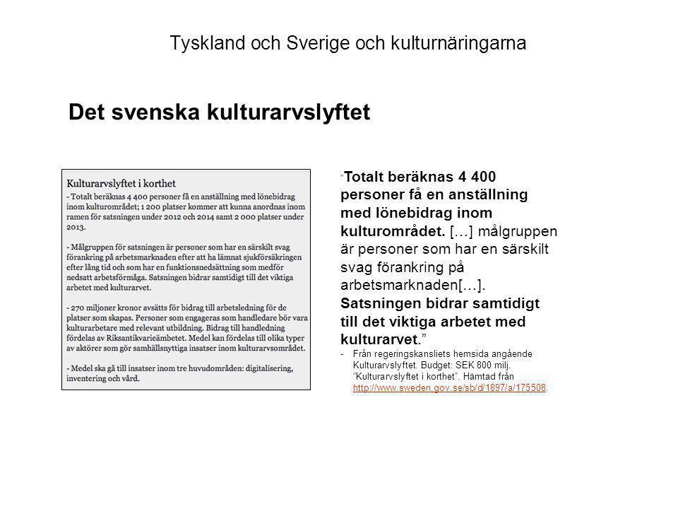 Tyskland och Sverige och kulturnäringarna Totalt beräknas 4 400 personer få en anställning med lönebidrag inom kulturområdet.