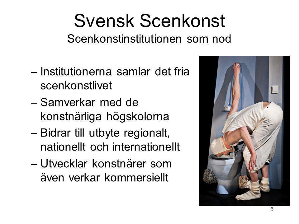 Svensk Scenkonst Scenkonstinstitutionen som nod 5 –Institutionerna samlar det fria scenkonstlivet –Samverkar med de konstnärliga högskolorna –Bidrar till utbyte regionalt, nationellt och internationellt –Utvecklar konstnärer som även verkar kommersiellt