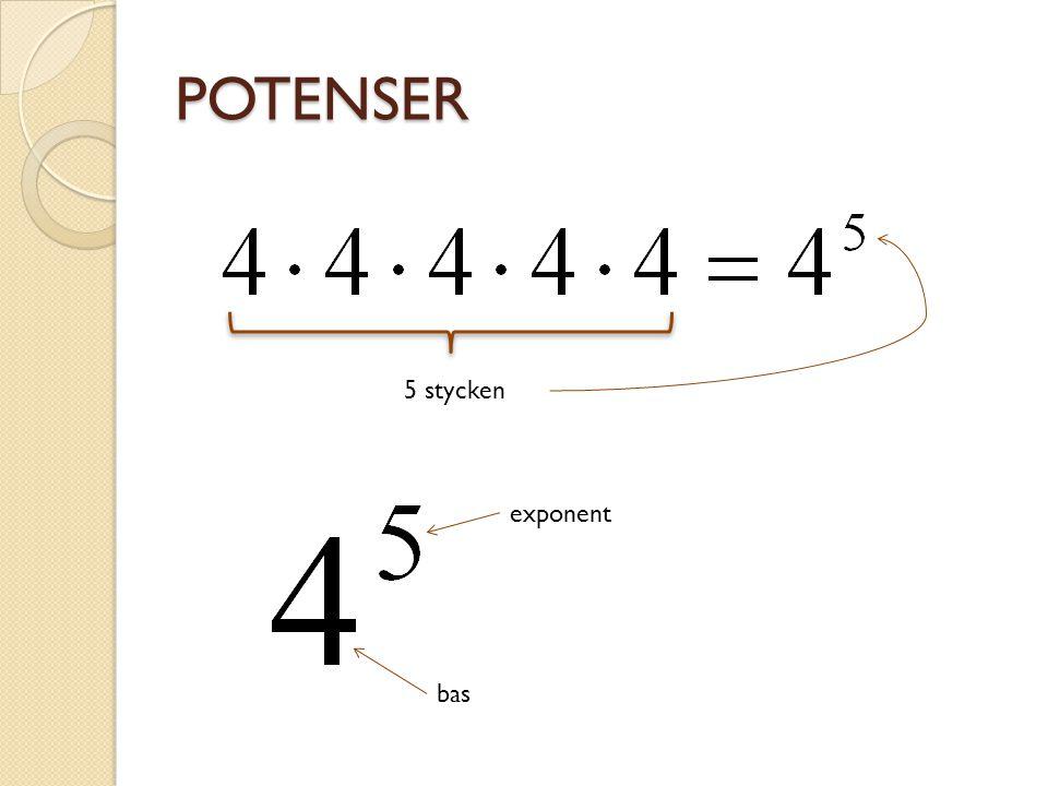 POTENSER 5 stycken bas exponent