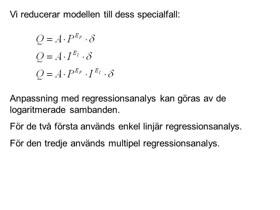 Vi reducerar modellen till dess specialfall: Anpassning med regressionsanalys kan göras av de logaritmerade sambanden. För de två första används enkel