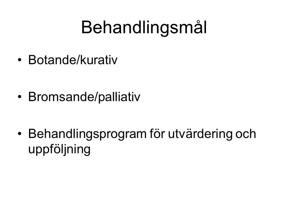 Behandlingsmål Botande/kurativ Bromsande/palliativ Behandlingsprogram för utvärdering och uppföljning