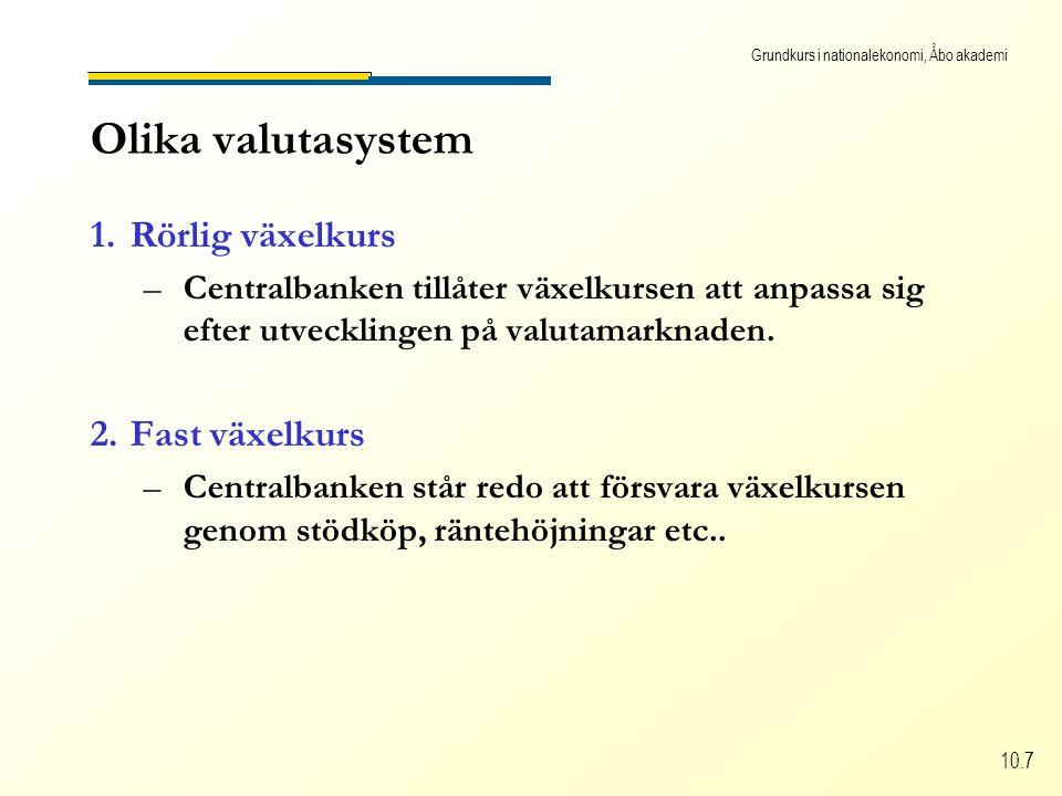 Grundkurs i nationalekonomi, Åbo akademi 10.7 Olika valutasystem 1.Rörlig växelkurs –C–Centralbanken tillåter växelkursen att anpassa sig efter utvecklingen på valutamarknaden.