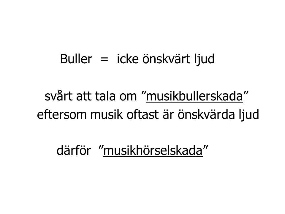 """Buller = icke önskvärt ljud svårt att tala om """"musikbullerskada"""" eftersom musik oftast är önskvärda ljud därför """"musikhörselskada"""""""