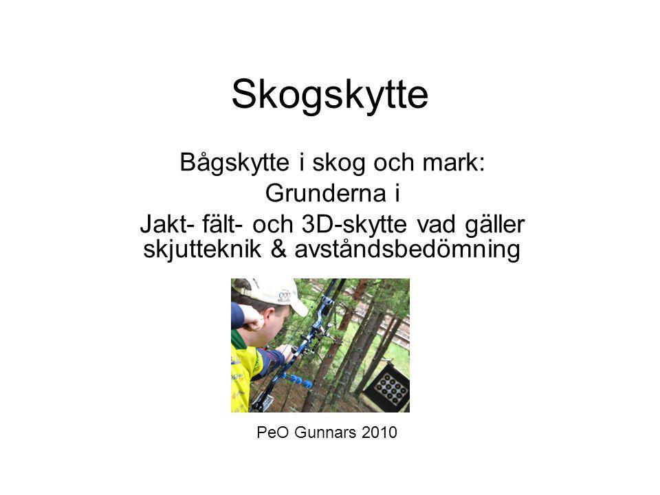 Skogskytte Bågskytte i skog och mark: Grunderna i Jakt- fält- och 3D-skytte vad gäller skjutteknik & avståndsbedömning PeO Gunnars 2010