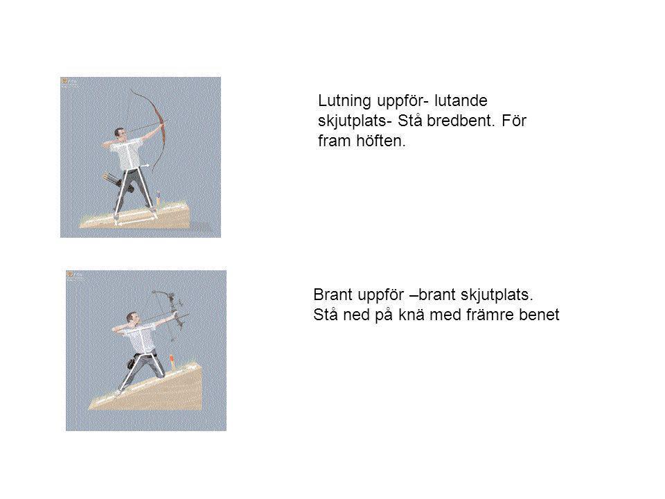 Lutning uppför- lutande skjutplats- Stå bredbent. För fram höften. Brant uppför –brant skjutplats. Stå ned på knä med främre benet