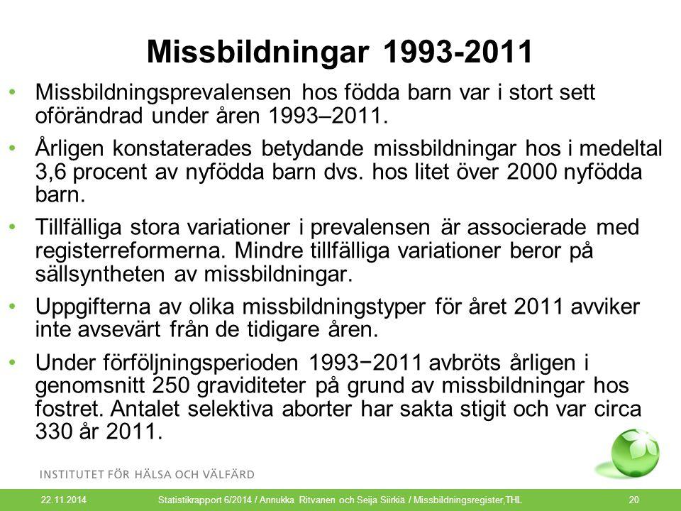 Missbildningar 1993-2011 Missbildningsprevalensen hos födda barn var i stort sett oförändrad under åren 1993–2011. Årligen konstaterades betydande mis