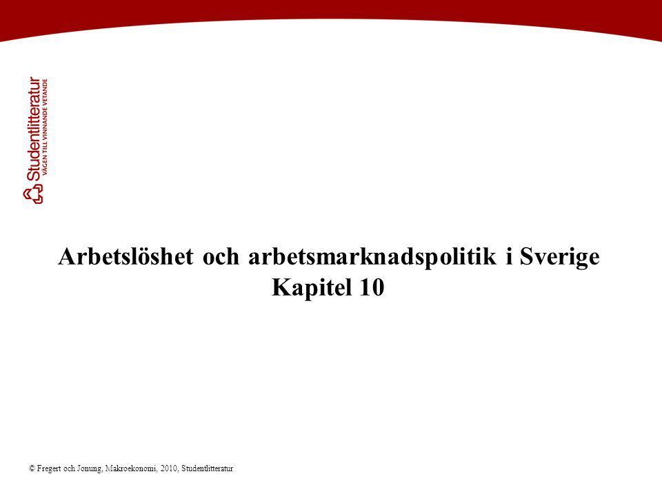 © Fregert och Jonung, Makroekonomi, 2010, Studentlitteratur Arbetslöshet och arbetsmarknadspolitik i Sverige Kapitel 10
