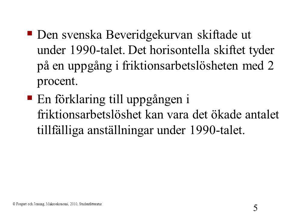 © Fregert och Jonung, Makroekonomi, 2010, Studentlitteratur 5  Den svenska Beveridgekurvan skiftade ut under 1990-talet. Det horisontella skiftet tyd