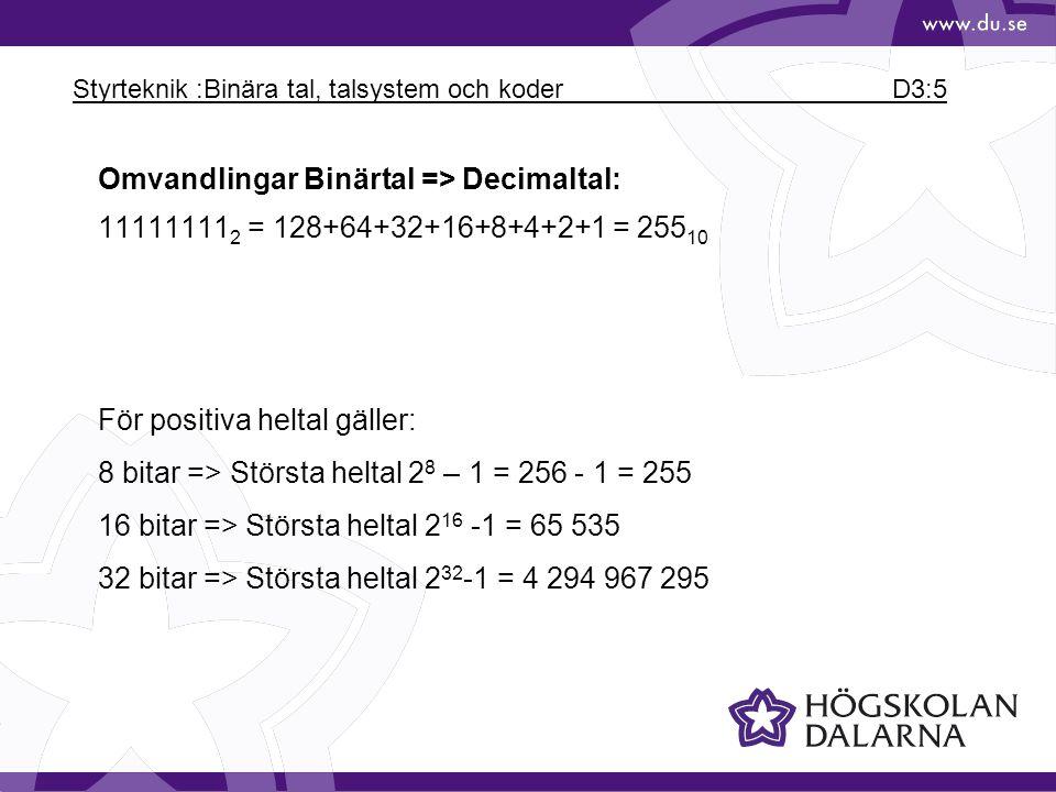 Styrteknik :Binära tal, talsystem och koder D3:5 För positiva heltal gäller: 8 bitar => Största heltal 2 8 – 1 = 256 - 1 = 255 16 bitar => Största hel