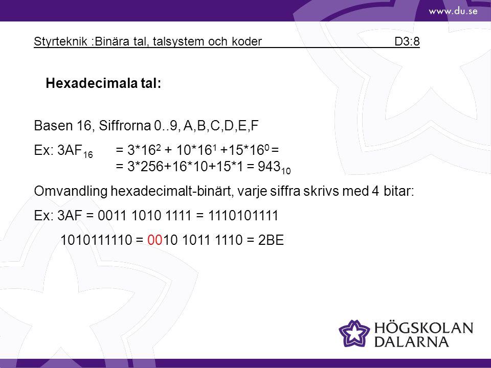 Styrteknik :Binära tal, talsystem och koder D3:8 Hexadecimala tal: Basen 16, Siffrorna 0..9, A,B,C,D,E,F Ex: 3AF 16 = 3*16 2 + 10*16 1 +15*16 0 = = 3*