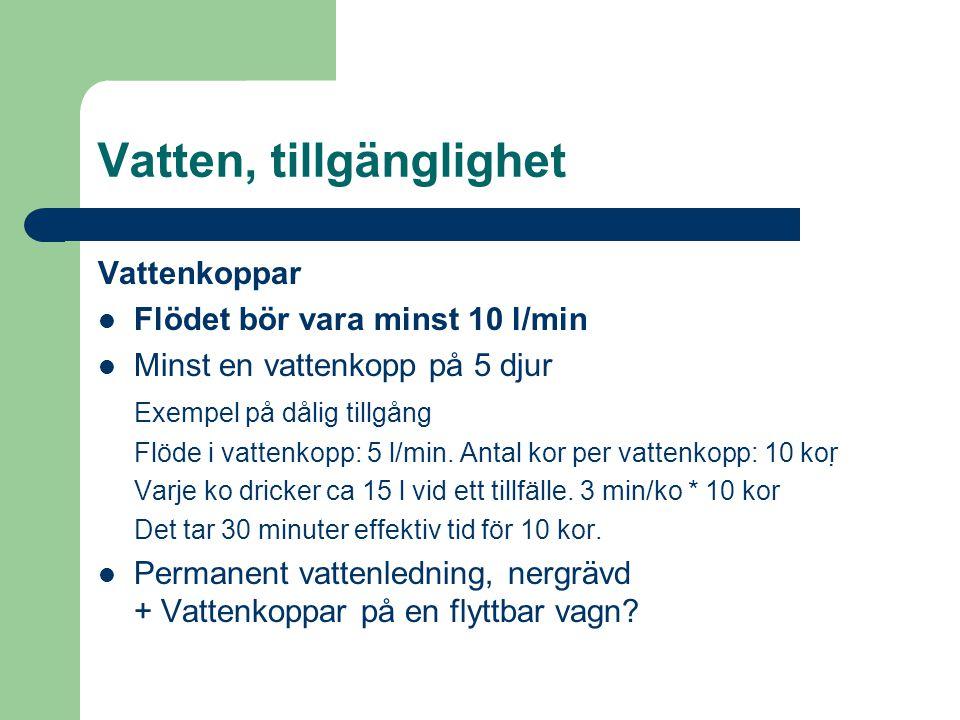 Vatten, tillgänglighet Vattenkoppar Flödet bör vara minst 10 l/min Minst en vattenkopp på 5 djur Exempel på dålig tillgång Flöde i vattenkopp: 5 l/min