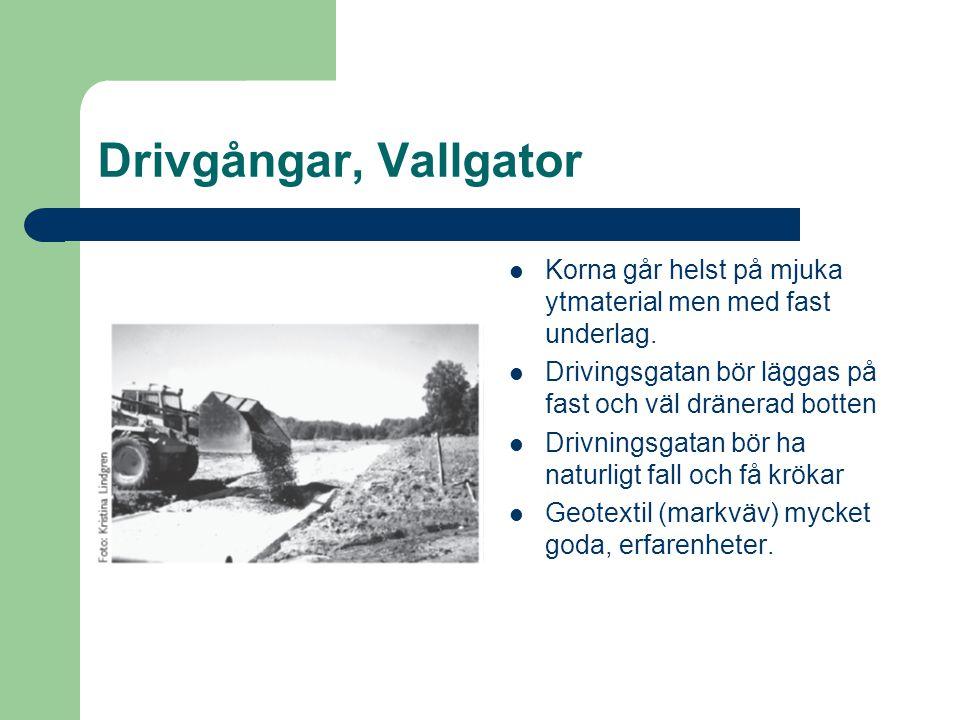 Drivgångar, Vallgator Korna går helst på mjuka ytmaterial men med fast underlag. Drivingsgatan bör läggas på fast och väl dränerad botten Drivningsgat