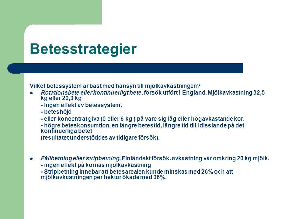 Betesstrategier Vilket betessystem är bäst med hänsyn till mjölkavkastningen? Rotationsbete eller kontinuerligt bete, försök utfört i England. Mjölkav