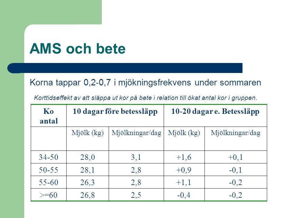 AMS och bete Korna tappar 0,2-0,7 i mjökningsfrekvens under sommaren Korttidseffekt av att släppa ut kor på bete i relation till ökat antal kor i grup
