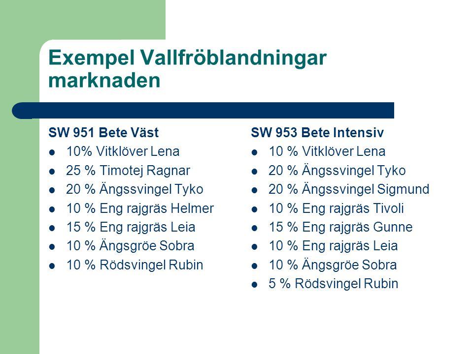 Exempel Vallfröblandningar marknaden SW 953 Bete Intensiv 10 % Vitklöver Lena 20 % Ängssvingel Tyko 20 % Ängssvingel Sigmund 10 % Eng rajgräs Tivoli 1