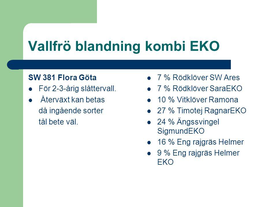 Vallfrö blandning kombi EKO SW 381 Flora Göta För 2-3-årig slåttervall. Återväxt kan betas då ingående sorter tål bete väl. 7 % Rödklöver SW Ares 7 %