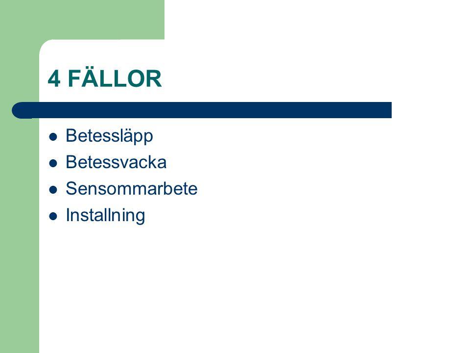 4 FÄLLOR Betessläpp Betessvacka Sensommarbete Installning