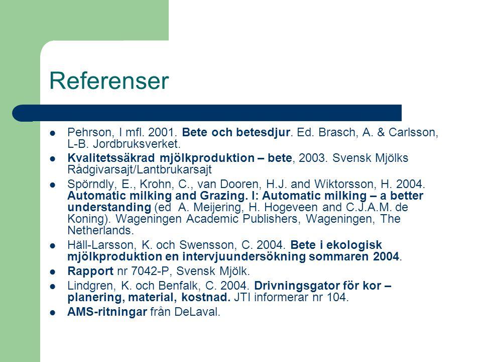 Referenser Pehrson, I mfl. 2001. Bete och betesdjur. Ed. Brasch, A. & Carlsson, L-B. Jordbruksverket. Kvalitetssäkrad mjölkproduktion – bete, 2003. Sv