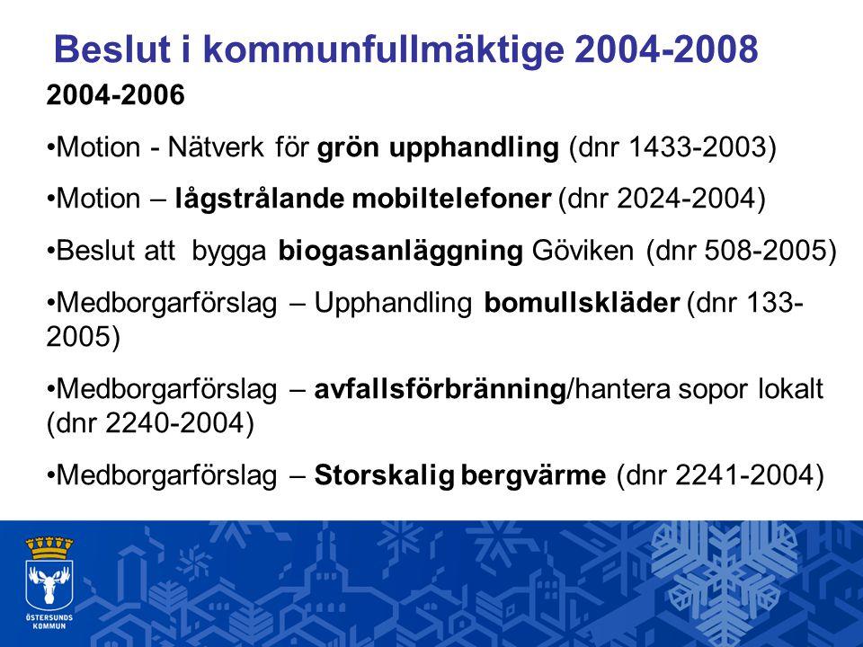 Beslut i kommunfullmäktige 2004-2008 2004-2006 Motion - Nätverk för grön upphandling (dnr 1433-2003) Motion – lågstrålande mobiltelefoner (dnr 2024-2004) Beslut att bygga biogasanläggning Göviken (dnr 508-2005) Medborgarförslag – Upphandling bomullskläder (dnr 133- 2005) Medborgarförslag – avfallsförbränning/hantera sopor lokalt (dnr 2240-2004) Medborgarförslag – Storskalig bergvärme (dnr 2241-2004)