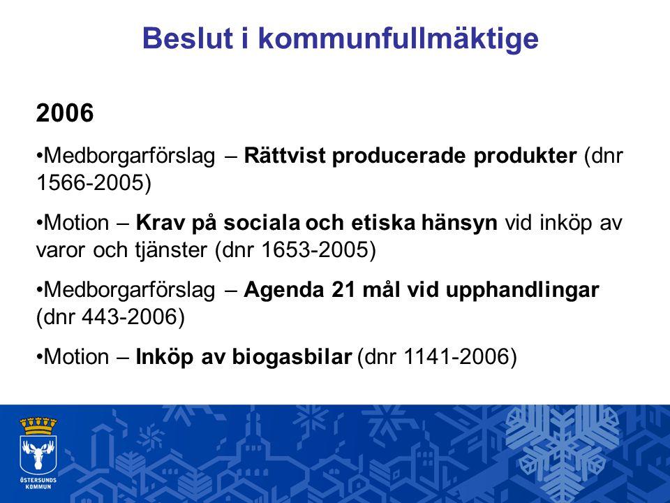 Beslut i kommunfullmäktige 2006 Medborgarförslag – Rättvist producerade produkter (dnr 1566-2005) Motion – Krav på sociala och etiska hänsyn vid inköp av varor och tjänster (dnr 1653-2005) Medborgarförslag – Agenda 21 mål vid upphandlingar (dnr 443-2006) Motion – Inköp av biogasbilar (dnr 1141-2006)