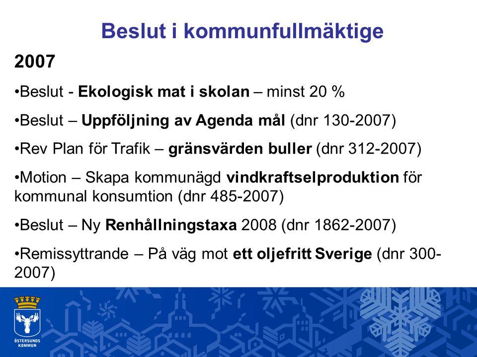 Beslut i kommunfullmäktige 2007 Beslut - Ekologisk mat i skolan – minst 20 % Beslut – Uppföljning av Agenda mål (dnr 130-2007) Rev Plan för Trafik – g