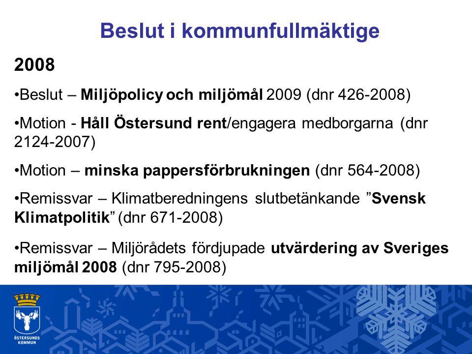 Beslut i kommunfullmäktige 2008 Beslut – Miljöpolicy och miljömål 2009 (dnr 426-2008) Motion - Håll Östersund rent/engagera medborgarna (dnr 2124-2007