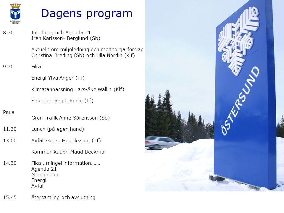 Dagens program 8.30Inledning och Agenda 21 Iren Karlsson- Berglund (Sb) Aktuellt om miljöledning och medborgarförslag Christina Breding (Sb) och Ulla