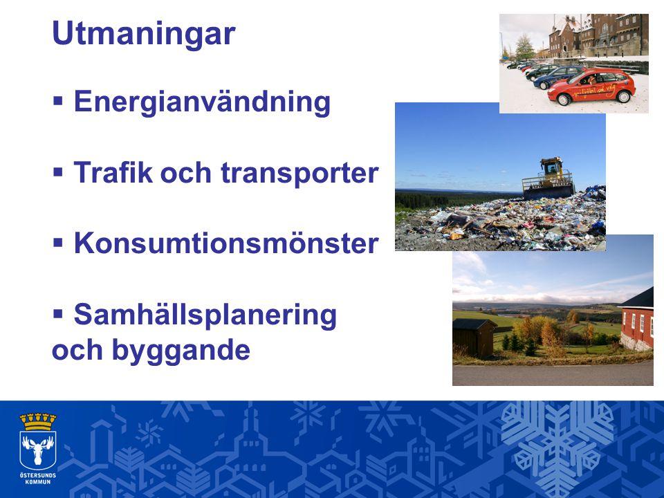 Utmaningar  Energianvändning  Trafik och transporter  Konsumtionsmönster  Samhällsplanering och byggande