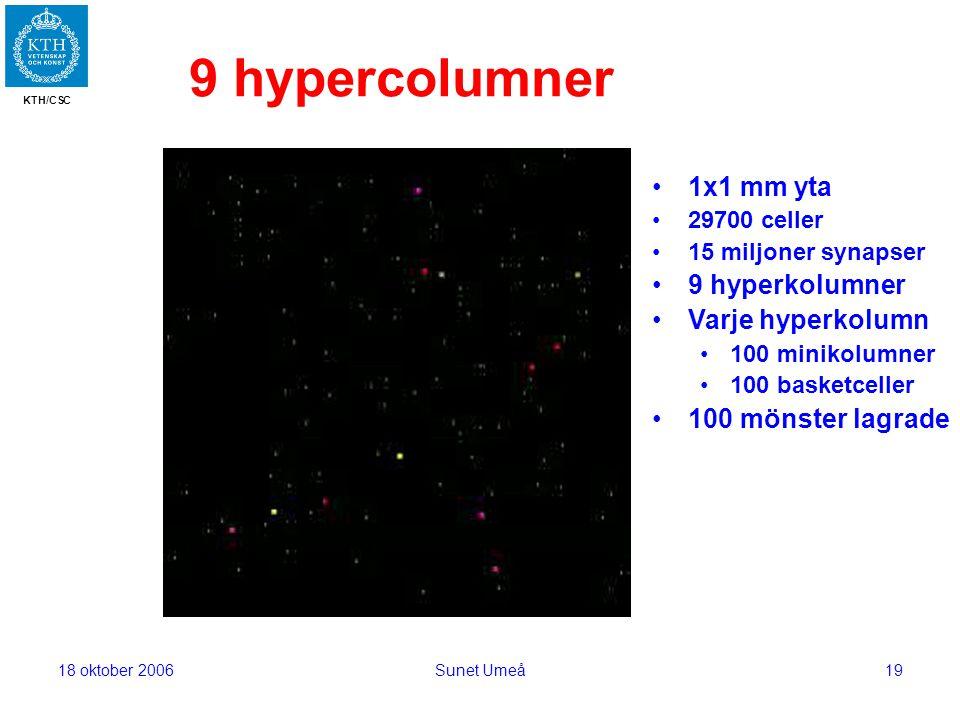 KTH/CSC 18 oktober 2006Sunet Umeå19 9 hypercolumner 1x1 mm yta 29700 celler 15 miljoner synapser 9 hyperkolumner Varje hyperkolumn 100 minikolumner 100 basketceller 100 mönster lagrade