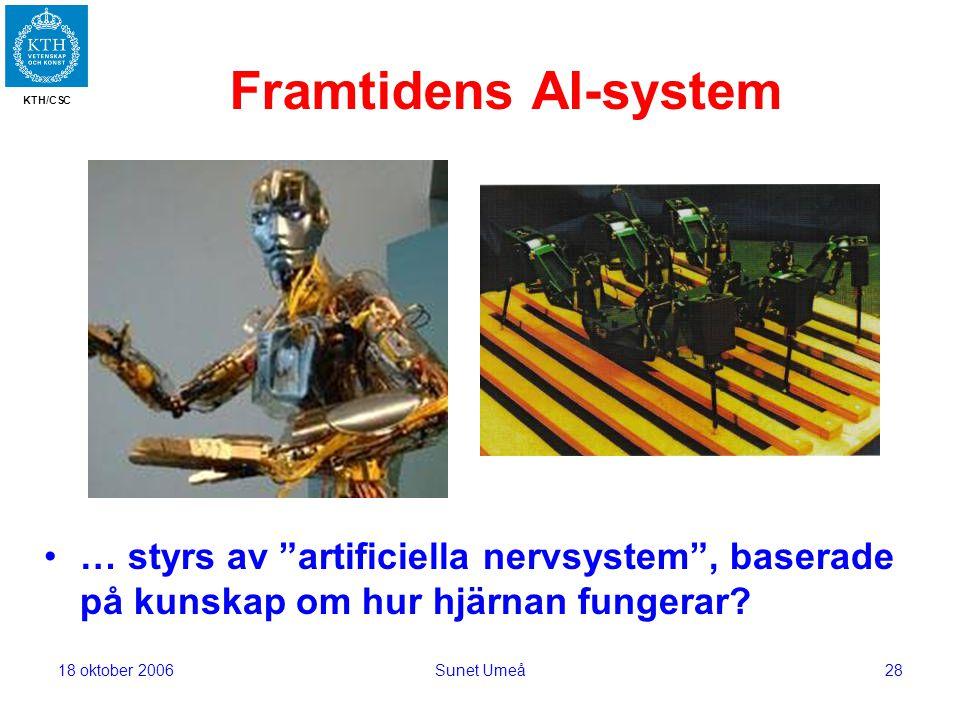 KTH/CSC 18 oktober 2006Sunet Umeå28 Framtidens AI-system … styrs av artificiella nervsystem , baserade på kunskap om hur hjärnan fungerar