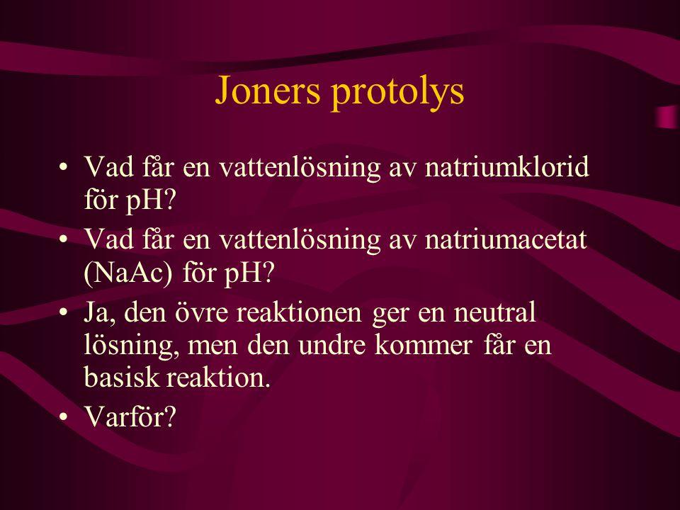 Joners protolys Vad får en vattenlösning av natriumklorid för pH? Vad får en vattenlösning av natriumacetat (NaAc) för pH? Ja, den övre reaktionen ger
