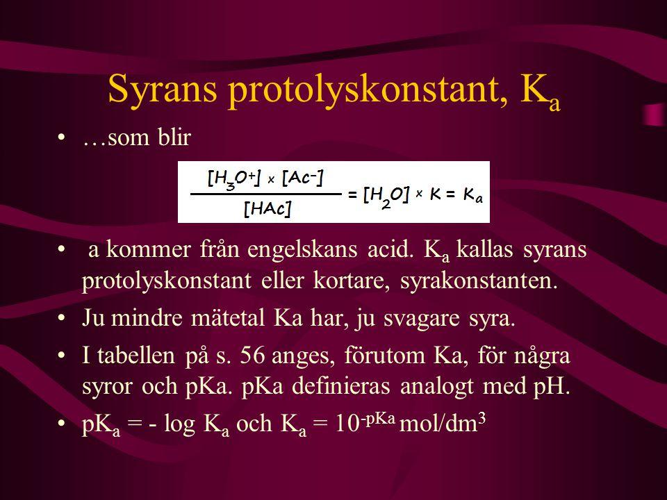 Syrans protolyskonstant, K a …som blir a kommer från engelskans acid. K a kallas syrans protolyskonstant eller kortare, syrakonstanten. Ju mindre mäte
