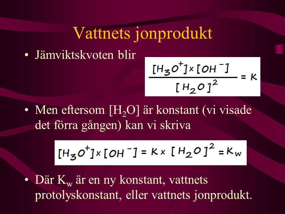 Vattnets jonprodukt Jämviktskvoten blir Men eftersom [H 2 O] är konstant (vi visade det förra gången) kan vi skriva Där K w är en ny konstant, vattnet
