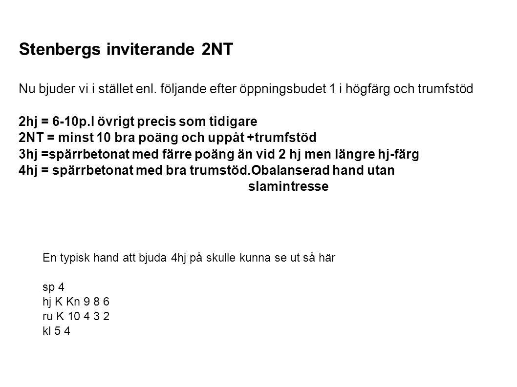 Stenbergs inviterande 2NT Nu bjuder vi i stället enl.