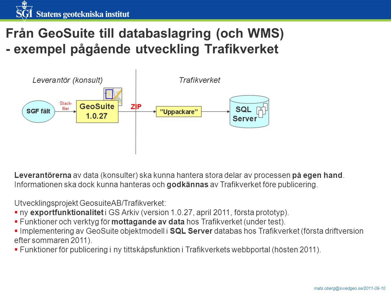 mats.oberg@swedgeo.se/2011-09-10 Från GeoSuite till databaslagring (och WMS) - exempel pågående utveckling Trafikverket Leverantörerna av data (konsulter) ska kunna hantera stora delar av processen på egen hand.