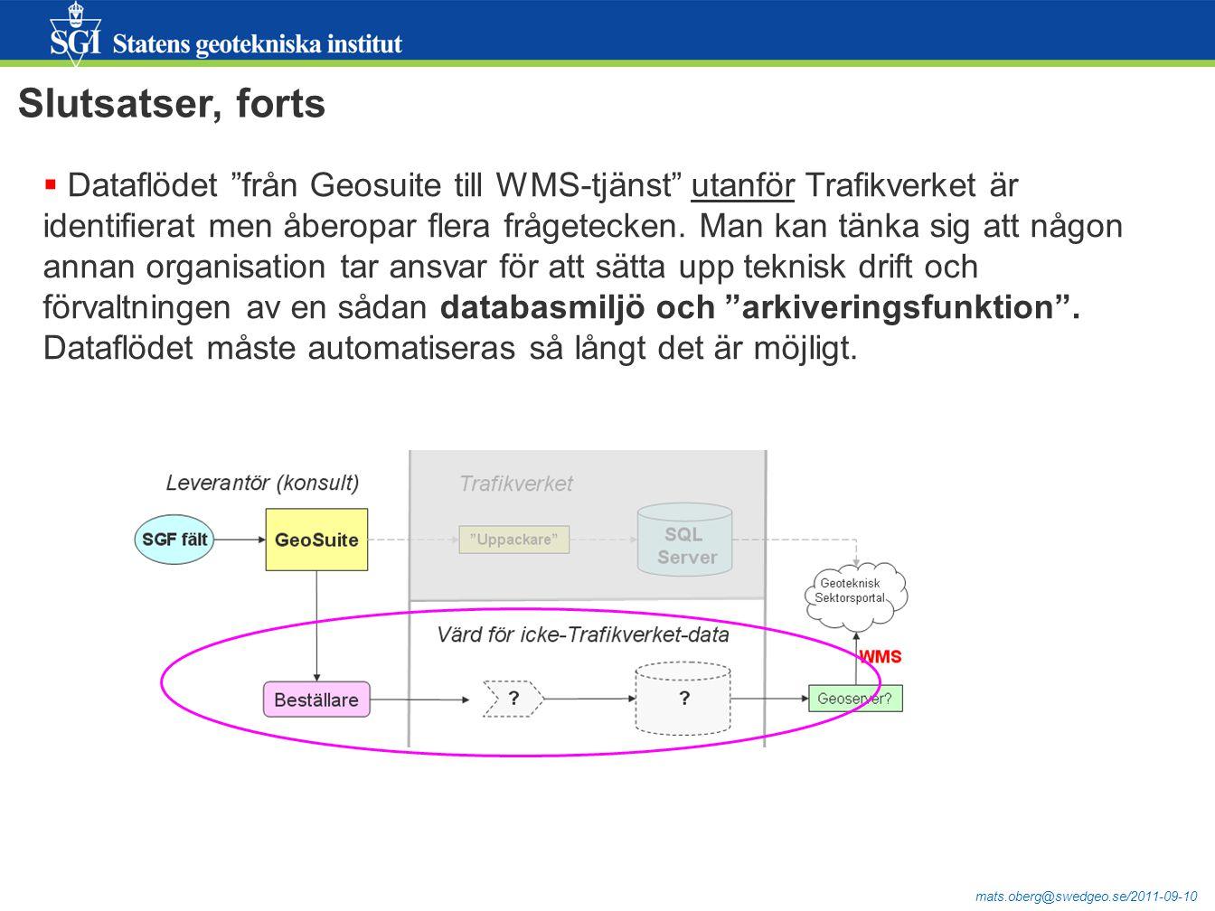 mats.oberg@swedgeo.se/2011-09-10 Slutsatser, forts  Dataflödet från Geosuite till WMS-tjänst utanför Trafikverket är identifierat men åberopar flera frågetecken.