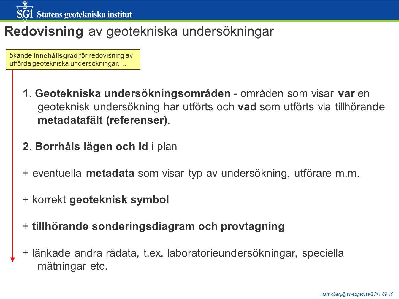 mats.oberg@swedgeo.se/2011-09-10 I förstudien har byggts en prototyp för registrering av geotekniska undersökningsområden.